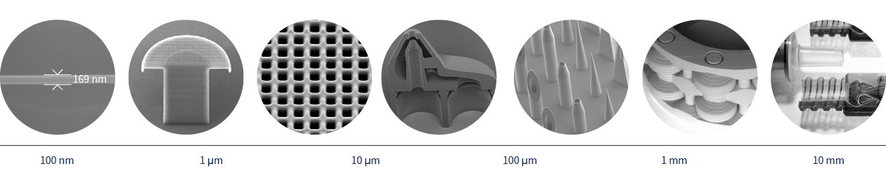 Info graphic: different photos of 3D-printed objects along a scale reaching from 100 nm to 10 mm